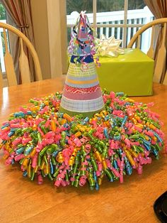 Love this Birthday Centerpiece ... it's made of a styrofoam wreath and curling ribbon with a party hat in the middle.
