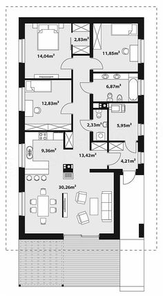 Projekt domu Bono 113,95 m2 - koszt budowy - EXTRADOM 4 Bedroom House Plans, Beach House Plans, My House Plans, Family House Plans, Small House Plans, Modern House Floor Plans, Modern Bungalow House, Bungalow House Plans, House Layout Design