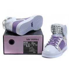 Purple Justin Bieber Supra Shoes White Purple Nail