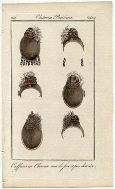 1815 Parisian hairstyles, front and back views.
