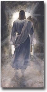 """Jared Barnes, """"The First"""". I love this painting of the Resurrection. You always see Christ outside of the tomb, but rarely ever see a painting of him leaving the tomb. I just love this image. I have been looking for this for about 10 years now. I first saw it when Jared was on a mission."""