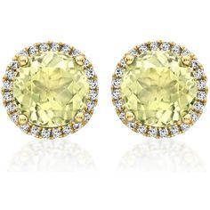 Kiki McDonough Grace Lemon Quartz Stud Earrings with Diamonds ($1,190) ❤ liked on Polyvore featuring jewelry, earrings, womens jewellery, diamond stud earrings, pave stud earrings, pandora jewelry and stud earring set