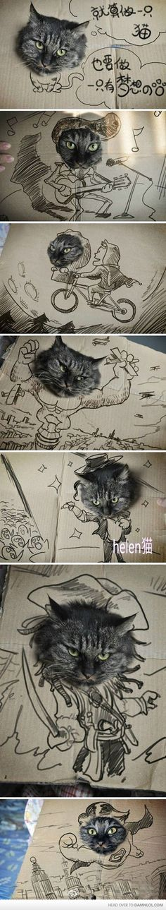 Catboard art (@Cat Pick).  Thought you would love this (please remove tag if repinning, thank you)