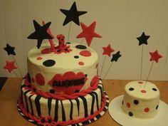 Zebra and stars first birthday cake and smash cake.