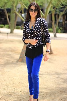 Just love the cobalt blue and black together.  The polka dots are an added bonus.
