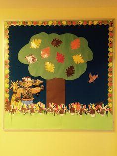 My preschool bulletin board for November/Fall.  Turkey hand prints