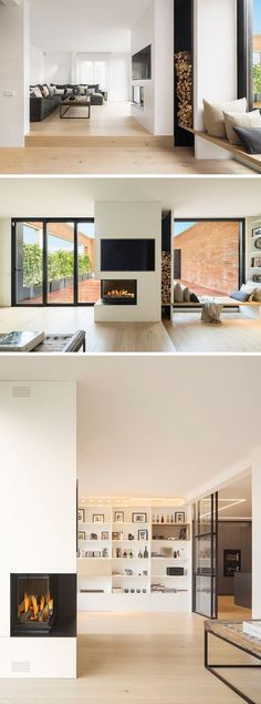 Inside this modern penthouse, the interiors of the home are bright with white walls that contrast the darker elements, like the furniture, fireplace and door frames. A wall of built-in shelving provides a place to display books and decorative pieces.