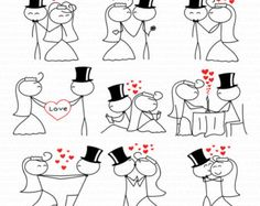 Wedding Clipart Clip Art Stick People Couple Figure by TeoldDesign