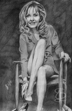 Freehand sketch of Ingrid Pitt using HB pencil and eraser. Darkened digitally.