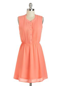 Cute As They Kumquat Dress - Short, Coral, Solid, Buttons, Pleats, A-line, Sleeveless, Crew, Casual, Spring