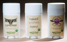 Our three USDA Certified Organic, Vegan, Handmade Deodorant that actually work.  Check out product reviews at:  www.North-Coast-Organics.com