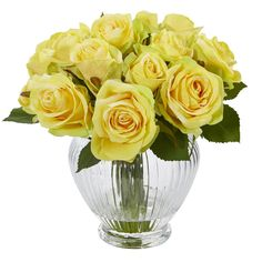 Tulip Bouquet Discover Nearly Natural 9 in. High Yellow Roses Artificial Floral Arrangement in Elegant Glass Vase - The Home Depot Nearly Natural 9 in. High Yellow Roses Artificial Floral Arrangement in Elegant Glass Vase Rosen Arrangements, Artificial Floral Arrangements, Artificial Flowers, Flower Arrangements, Silk Flower Centerpieces, Flower Vases, Cactus Flower, Faux Flowers, Silk Flowers