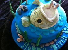 Fisherman's Cake I was inspired to do this cake from others here in Cake Central! This cake was made for a birthday for someone who. Fish Cake Birthday, Daddy Birthday, Fondant Fish, Fisherman Cake, Pond Cake, Cupcake Cakes, Cupcakes, Cake Central, Occasion Cakes