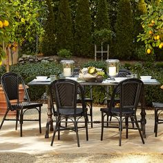 La Coupole Outdoor Dining Table, Rectangular Black Granite Top | Williams-Sonoma