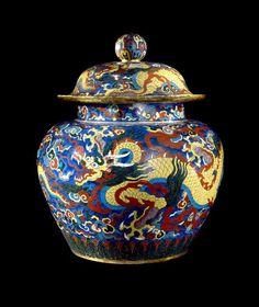 Cloisonne jar with dragon