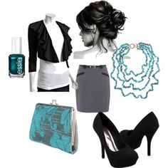 Pop of teal in a professional outfit