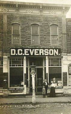 D.C. Everson Drug Store, Cawker City, Kansas, circa 1901. I love the mortar and pestle on the post in the front....