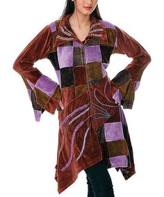 Take a look at this Brown & Purple Patchwork Velvet Jacket - Women by Rising International on #zulily today!