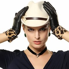 Warmen Lady's Winter Warm Genuine Leather Gloves with Leopard Trim (L) -- Check out this great product.