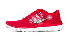 Women's Nike Free Running Shoes By Glitter Kicks - Hand Customized With Swarovski Crystal Rhinestones - Red/White Red Nike Shoes, Bling Nike Shoes, Nike Shoes Outfits, Nike Shoes Girls Kids, Girls Sneakers, Sneakers Nike, Mens Fashion Shoes, Ugg Boots, Nike Free