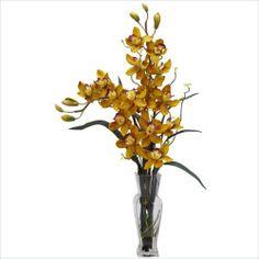 Where can I buy Nearly Natural Cymbidium Silk Flower Arrangement in Yellow