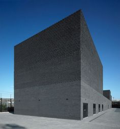 Primary Substation 2012 London Olympics by Robin Lee Architecture Black Architecture, Residential Architecture, Contemporary Architecture, Architecture Details, Brick Projects, Brick Detail, Brick Facade, Building Facade, Facade Design