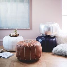 Shop pouf from west elm. Find a wide selection of furniture and decor options that will suit your tastes, including a variety of pouf. Leather Pouf Ottoman, Moroccan Leather Pouf, Moroccan Pouf, Leather Stool, Moroccan Decor, Moroccan Style, West Elm, Pouf Cuir, Cozy Wedding