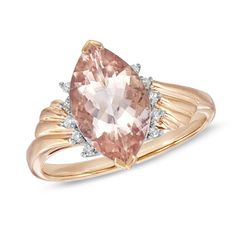 Wow! Marquise Pink Morganite & Diamond Accent Ring