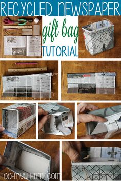 Recycled Newspaper Gift Bags - click through for the full tutorial.