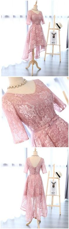 Long Sleeve Lace High Low Pink Homecoming Prom Dresses, Affordable Sho – SposaDesses