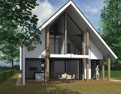Neues Design für ein Haus in Delft. Garden Architecture, Architecture Design, Dormer Bungalow, Modern Prefab Homes, Delft, House Front, Home Deco, Future House, Modern Farmhouse
