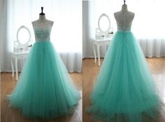 Real Photo Custom White Lace Green Tulle Floor by angeldreamprom, $239.99