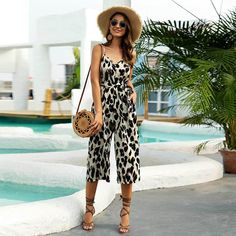 Women's Sling Adjustable Belt V-neck Jumpsuit Casual Fashion Leopard One-piece Wide Leg Pants Women's Summer Sexy Jumpsuit – Hot Products Summer Wear, Summer Outfits, Pantalon Large, Style Casual, Pants For Women, Clothes For Women, Casual Jumpsuit, Playsuit Romper, Playsuits