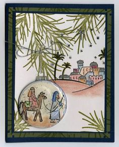 nativity ornament card, stamped handmade card