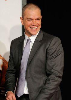 Matt Damon : Bald Men of Style- looks better without the hair