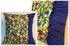 Housse de coussin . Papillons & plissé bleu . 18x18 par Tikoutile, $30.00