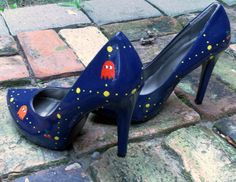 Size 9 Custom Hand Painted Ms PacMan High Heel by TiltedShoes, $125.00 - I LOVE THESE!