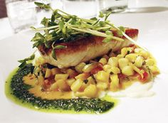 Halibut With Orange-Parsley Butter And Succotash Recipe — Dishmaps