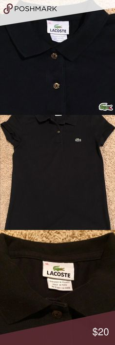 30f3d510d1 Lacoste Black Polo Lacoste 2-button, capped sleeve, black polo Lacoste Tops