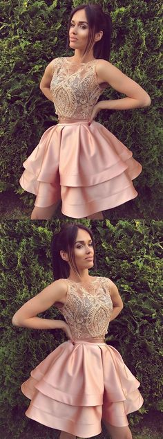 Cute round neck lace pink short prom dress, pink cute homecoming dresses Short prom dresses -- proms dress, short pink prom dresses Click VISIT link above for more info Unique Homecoming Dresses, Prom Dresses For Teens, Dresses Short, Pink Prom Dresses, Sweet 16 Dresses, A Line Prom Dresses, Sweet Dress, Unique Dresses, Dance Dresses