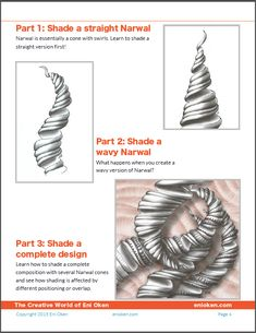 Learn how to shade tangle pattern Narwal, pdf ebook by Eni Oken • enioken.com