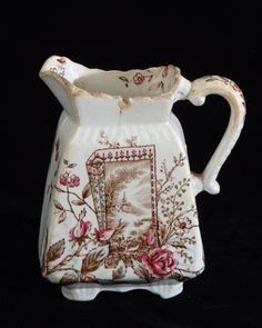Brown Transferware Ironstone Creamer by parkavenuethrift on Etsy, $18.00