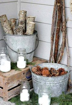 Buckets of nature double as #holiday decorations