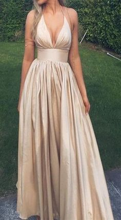 simple prom dress, v-neck prom dress, champagne prom dress, backless prom dress, halter prom dress, deep v neck dress, spaghetti straps dress, sleeveless dress