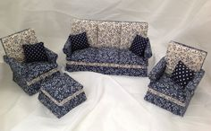 Dolls House Miniatures - Pair of 1/12th Armchairs  and Sofa - NEW Autumn 2015