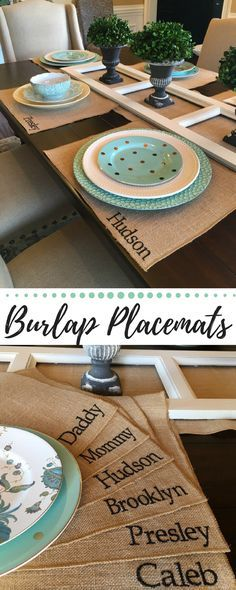 Customized Placemats on Burlap. I think I could make these!! #placemats #thanksgiving #tablesetting #ad