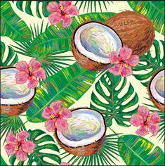 New fruit tropical dessin ideas Tropical Wallpaper, Flower Wallpaper, Pattern Wallpaper, Motif Tropical, Tropical Pattern, Tropical Fruits, Tropical Flowers, Patterns Background, Vector Background