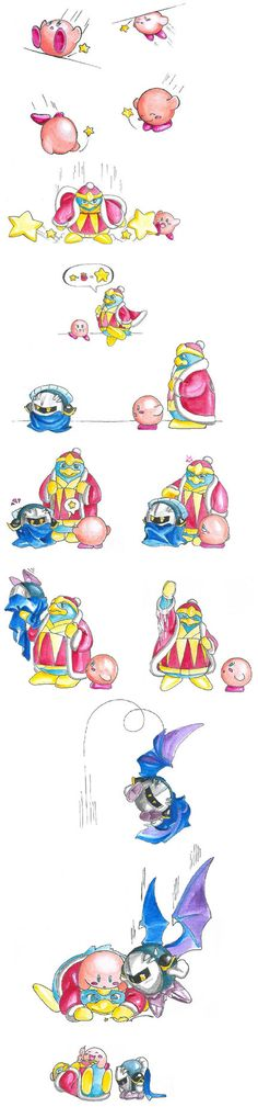 Ok this took me a bit but I finally understand what is happening. They are having a bouncing contest in the form of stars. Whoever has the largest star wins. At the end poor Meta Knight has a tiny star so Kirby and Dedede are laughing at him, so he is embarrassed. It's cute once you get it.