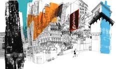 Center of Athens, Greece by Daniel Egneus Building Sketch, Affordable Art Fair, American Gods, House Drawing, Urban Sketching, Urban Landscape, Urban Art, Illustration Art, Illustrations