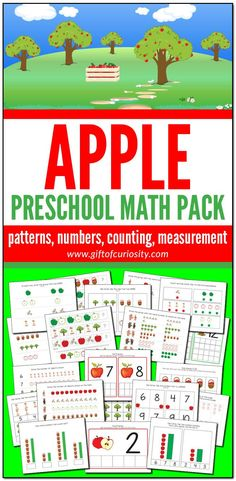 This Apple Preschool Math Pack features more than 75 pages of apple-themed math activities for children ages 2-5. These developmentally appropriate activities are aligned to preschool learning standards. Grab a copy of these easy print-and-play activities that support the development of a range of early math skills including patterns, numbers, counting, and measurement. #apples #fall #STEM #printables #giftofcuriosity #preschool #prek #preschoolmath || Gift of Curiosity Pre Reading Activities, Fall Preschool Activities, Apple Activities, Printable Activities For Kids, Preschool Printables, Preschool Learning, Measurement Activities, Early Math, Math Skills